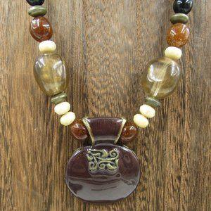 "Jewelry - 20"" Unique Heavy Pendant Necklace Vintage Costume"